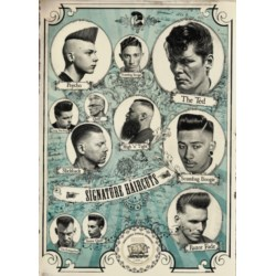 Reuzel Poster Signature Haircuts plakat z męskimi fryzurami 50 x 71 cm