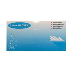 """Rękawiczki latex białe pudrowane 9""""  S niebieskie pudełko"""