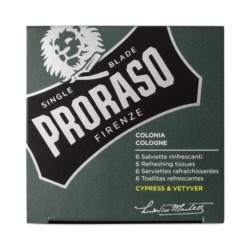 Proraso Green Cypress & Vetyver Tissues odświeżające chusteczki 6szt.